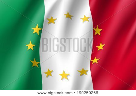 Italy national flag with a circle of European Union twelve gold stars, symbol of unity with EU, member since 1 January 1958. Realistic vector style illustration