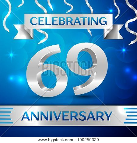 Sixty nine Years Anniversary Celebration Design. Confetti and silver ribbon on blue background. Colorful Vector template elements for your birthday party. Anniversary ribbon