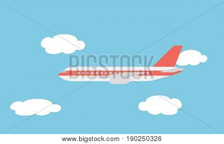 View of the large and fast line airliner flying among the clouds in the blue sky - vector