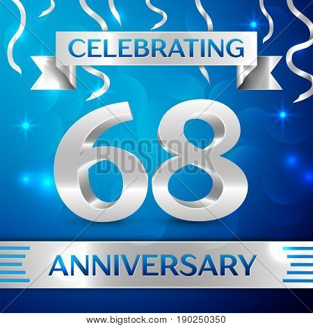 Sixty eight Years Anniversary Celebration Design. Confetti and silver ribbon on blue background. Colorful Vector template elements for your birthday party. Anniversary ribbon