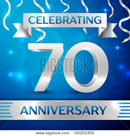 Seventy Years Anniversary Celebration Design. Confetti and silver ribbon on blue background. Colorful Vector template elements for your birthday party. Anniversary ribbon