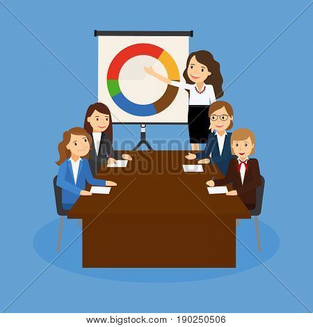 Office teamwork board chart graphic documents. Vector illustration