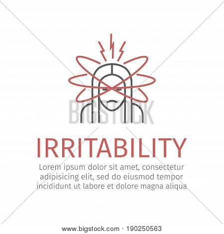 Irritability woman. Vector sign for web graphics.