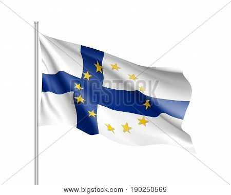Finland national waving flag with a circle of European Union twelve gold stars, symbol of unity with EU, member since 1 January 1995. Realistic vector illustration