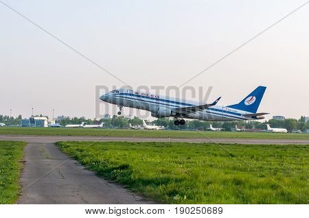 KIEV, UKRAINE - MAY 2: Close view of taking off Belavia aircraft. May 2, 2017