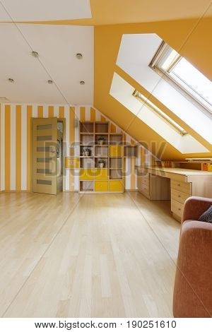 Attic Decorated In Sunny Colors