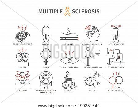 Multiple sclerosis. Symptoms, Causes, Treatment. Line icons set. Vector signs for web graphics
