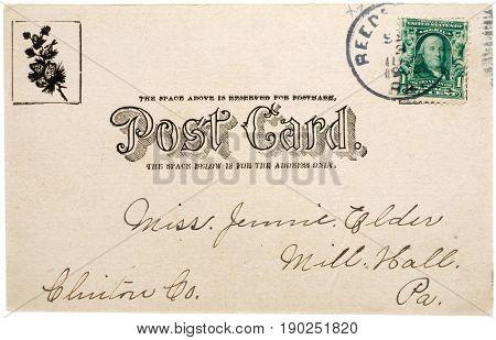 REEDS GAP, PENNSYLVANIA, USA - CIRCA 1905: Vintage stamped post card sent from Reeds Gap, Pennsylvania, to Mill Hall, Pennsylvania