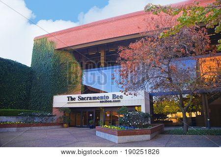 SACRAMENTO, CALIFORNIA, USA - November 14, 2009: Front exterior of the Sacramento Bee building