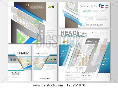 Social media posts set. Business templates. Cover design template, easy editable, abstract flat layouts in popular formats. City map with streets. Flat design template for tourism businesses, abstract vector illustration.