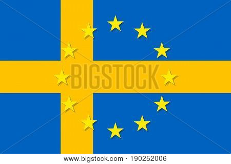 Sweden national flag with a circle of European Union twelve gold stars, symbol of unity with EU, member since 1 January 1995. Vector flat style illustration
