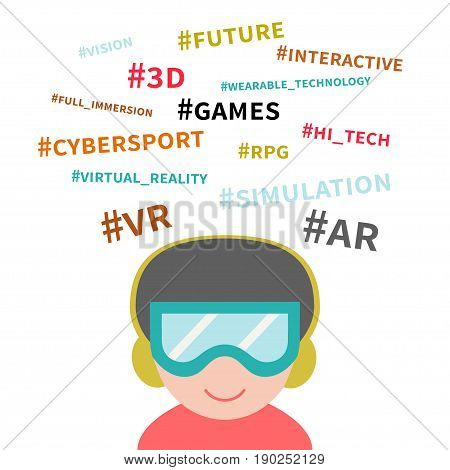 Vector illustration of wearable technology. Virtual reality. Man wearing headset and glasses with hashtag cloud. Concept for modern computer technologies, cybergames, augmented reality. Flat design.