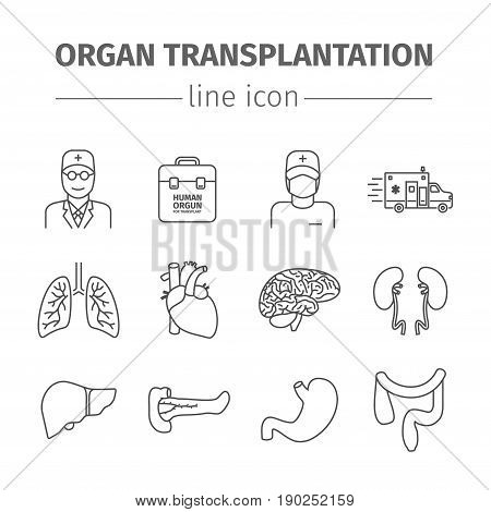 Organ transplantation line icons set. Vector illustration.