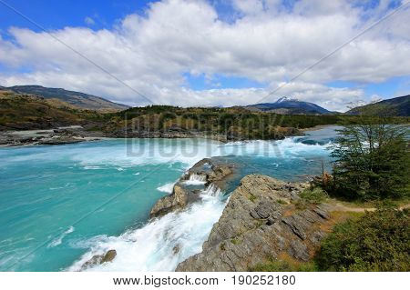 Deep blue Baker river, Carretera Austral, Chile