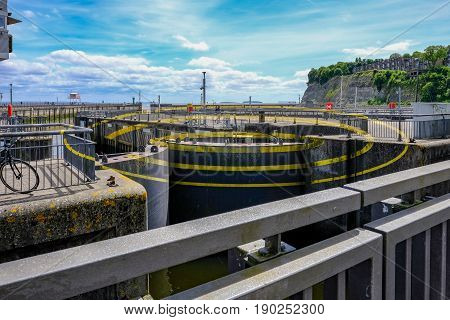 Cardiff Bay Cardiff Wales - May 20 2017: Barage circles three circles for three locks at the Barage.