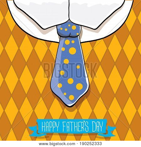 happy fathers day vector cartoon background with color tie and vintage pattern. fathers day vector label