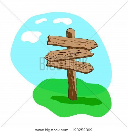 Three Arrow Shapes Cartoon Wooden Signpost