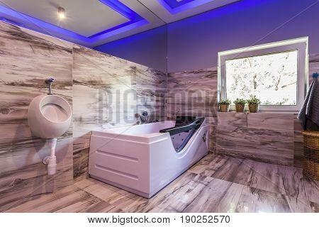 Extravagant Bathroom With Urinal, Hot Tub