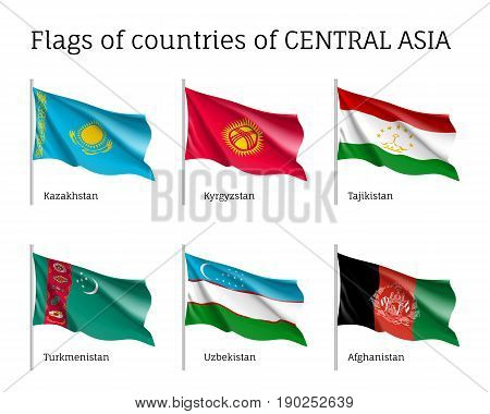 Set of flags of central Asia, Kazakhstan, Kyrgystan, Tajikistan, Turkmenistan, Uzbekistan, Afghanistan, realistic on sticks, waving on wind, bright silky material. Vector illustration