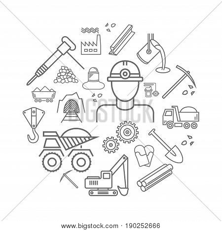Industry line icons set. Metallurgy and Coal mining vector sign in a circle