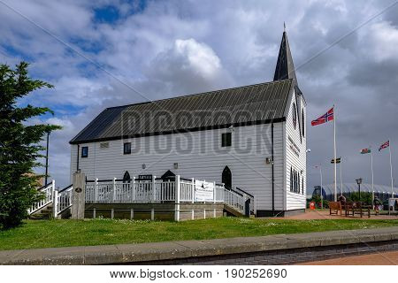 Cardiff Bay Cardiff Wales - May 20 2017: Norwegian Church and arts centre with cafe.