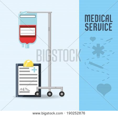 blood transfusion tool with diagnostic prescription vector illustration