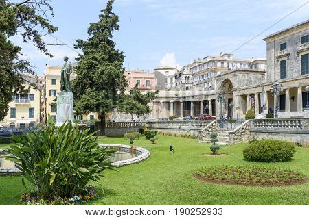 Front of Saint Michael and Saint George Palace in Kerkyra, Corfu island in Greece.