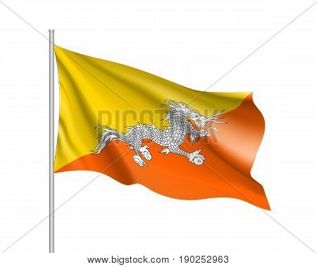 Waving flag of Butane. Illustration of Asian country flag on flagpole. Vector 3d icon isolated on white background