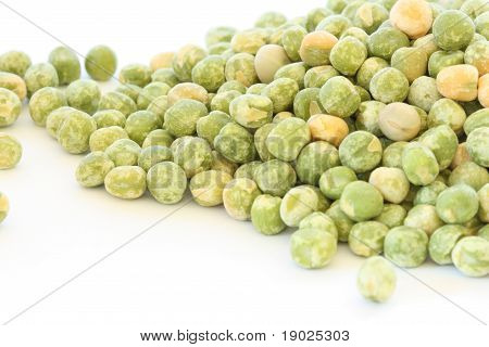 Dry Green Pea On White Background