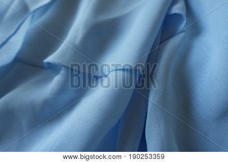 Draped Chiffon Fabric In Pastel  Blue Color