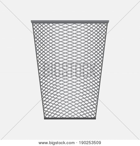 empty basket office accessories metal mesh basket for pens and pencils flat style vector image