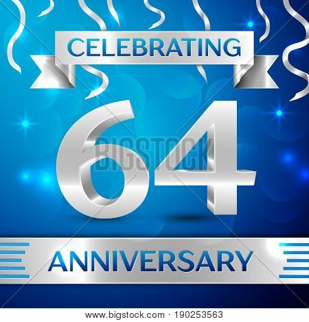 Sixty four Years Anniversary Celebration Design. Confetti and silver ribbon on blue background. Colorful Vector template elements for your birthday party. Anniversary ribbon