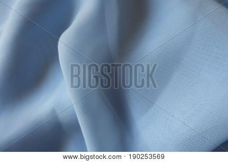 Draped Lightweight Sky Blue Polyester Chiffon Cloth