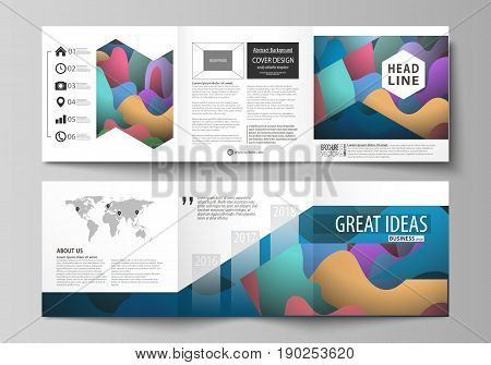 Set of business templates for tri fold brochures. Square design. Leaflet cover, abstract flat layout, easy editable vector. Bright color pattern, colorful design with overlapping shapes forming abstract beautiful background.
