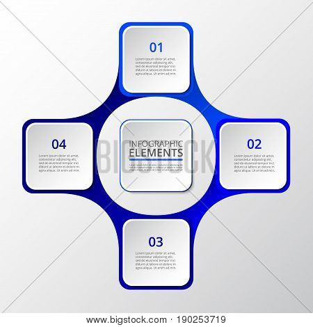 Infographics step by step. Dark blue abstract element of chart graph diagram with 4 steps options parts processes. Vector business template for presentation and training.