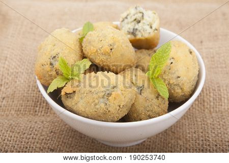 A Handful Of Homemade Croquettes Of Spinach