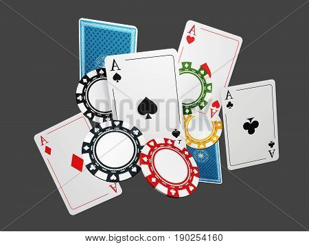 3d Illustration of poker playing cards and chips, isoalted white