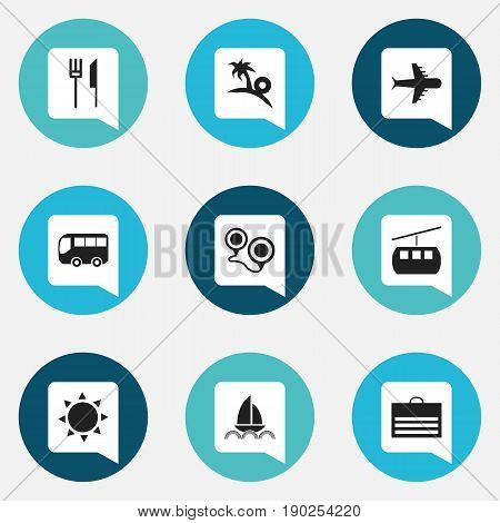 Set Of 9 Editable Trip Icons. Includes Symbols Such As Yacht, Solar, Cableway And More. Can Be Used For Web, Mobile, UI And Infographic Design.