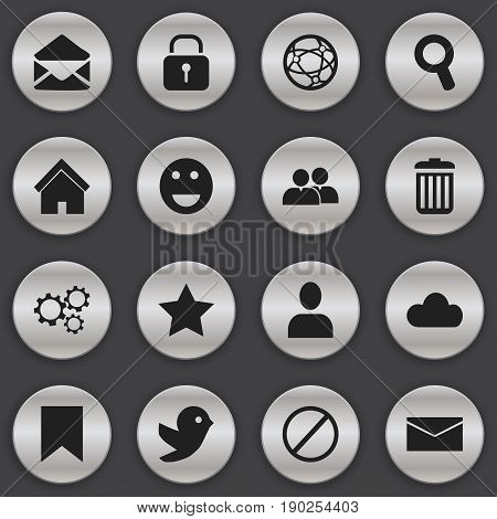 Set Of 16 Editable  Icons. Includes Symbols Such As Security, Letter, Deny And More. Can Be Used For Web, Mobile, UI And Infographic Design.