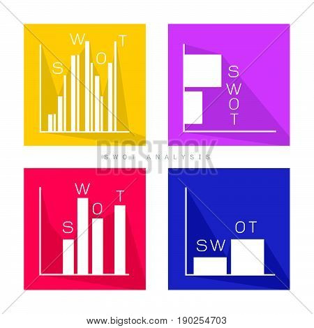Business Bar Chart of SWOT Analysis Matrix A Structured Planning Method for Evaluate Strengths, Weaknesses, Opportunities and Threats Involved in Business Project. A Foundation Strategy Management Plan.