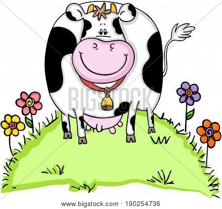 Scalable vectorial image representing a cute cow in green grass with flowers, isolated on white.