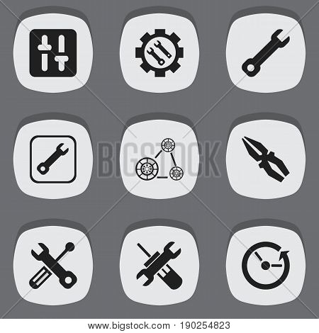 Set Of 9 Editable Mechanic Icons. Includes Symbols Such As Utility, Equalizer, Fix Tool And More. Can Be Used For Web, Mobile, UI And Infographic Design.