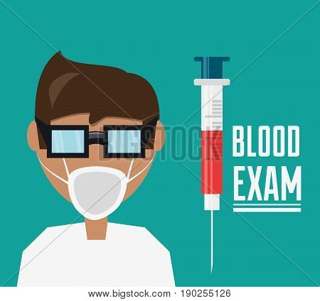 doctor with glasses and mask with syringe to blood exam vector illustration