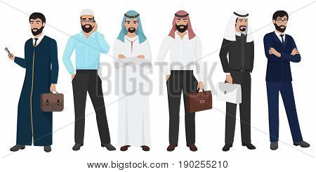 Arabic Business man people. Muslim Arab office male people set