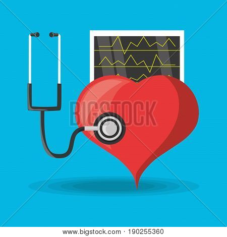stethoscope check to heart and review cardiac rhythm vector illustration