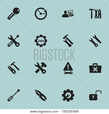 Set Of 16 Editable Service Icons. Includes Symbols Such As Pliers Hammer, Time, Fix Tool And More. Can Be Used For Web, Mobile, UI And Infographic Design.