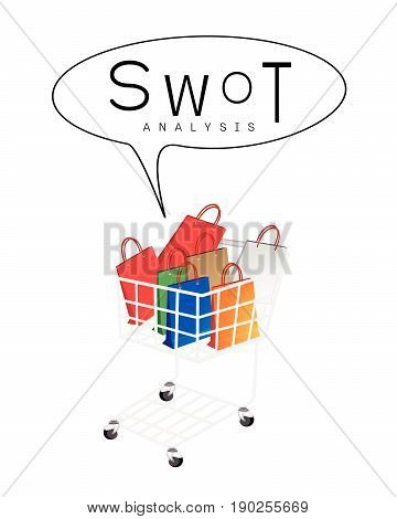 Shopping Cart Full with Shopping Bag or Gift Bag with SWOT Analysis Matrix A Structured Planning Method for Evaluate Strengths, Weaknesses, Opportunities and Threats Involved in Business Project.