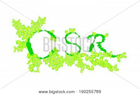 Business Concepts, CSR Abbreviation or Corporate Social Responsibility Decorated with Beautiful Green Leaves.