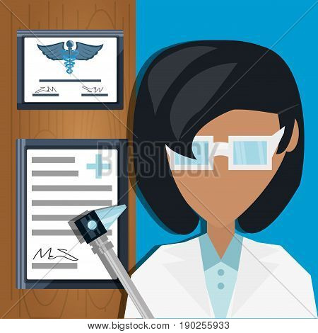 doctor with otoscope and medical diplomas vector illustration