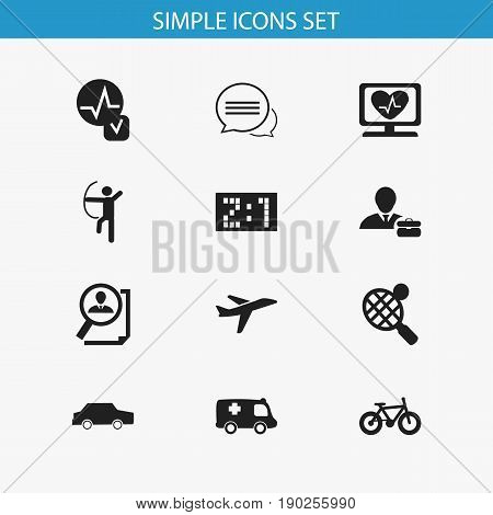 Set Of 12 Editable Complex Icons. Includes Symbols Such As Bicycle, Emergency, Bowman And More. Can Be Used For Web, Mobile, UI And Infographic Design.